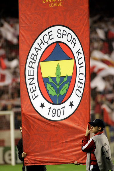 Fenerbahce badge displayed on the field before the UEFA Champions League first knockout round game (second leg) between Sevilla FC (Seville, Spain) and Fenerbahce (Istambul, Turkey), Sanchez Pizjuan stadium, Seville, Spain, 04 March 2008.