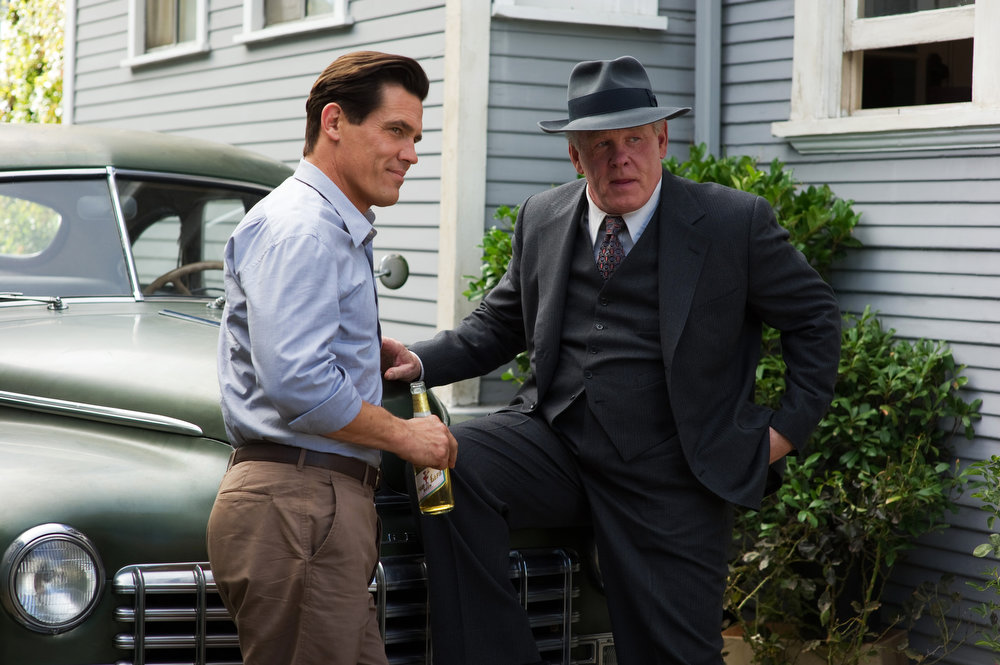 """. This film image released by Warner Bros. Pictures shows  Josh Brolin, left, as Sgt. John O\'Mara, and Nick Nolte, as Chief Parker in \""""Gangster Squad.\"""" (AP Photo/Warner Bros. Pictures, Wilson Webb)"""