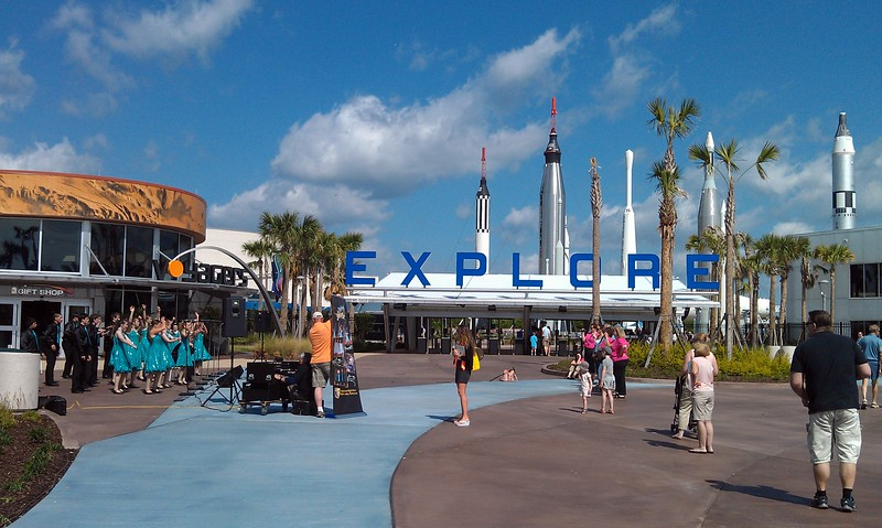 The entrance to the Kennedy Space Center Visitor Complex, featuring the Tulpehocken High School Show Choir from Bethlehem, Pa.