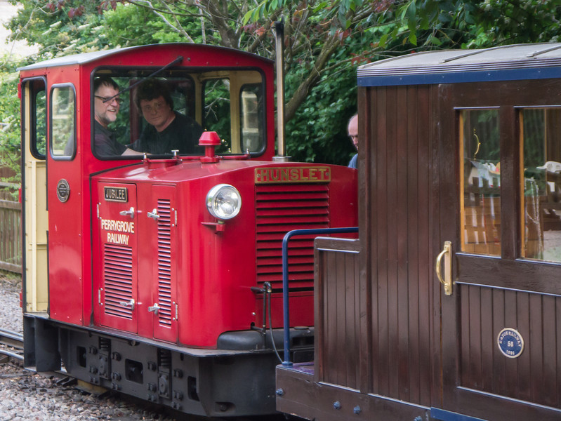 Dad driving the disel engine