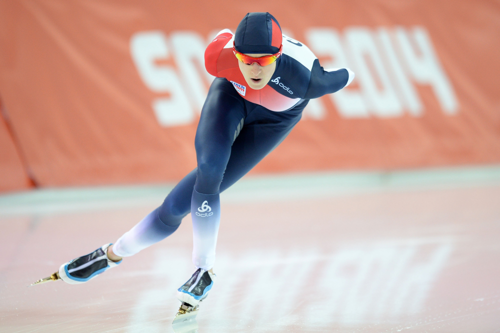 . Czech Republic\'s Martina Sablikova competes in the Women\'s Speed Skating 5000 m at the Adler Arena during the Sochi Winter Olympics on February 19, 2014.             (JUNG YEON-JE/AFP/Getty Images)