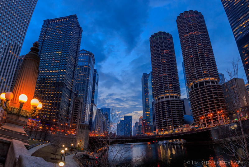 Chicago River at blue hour.