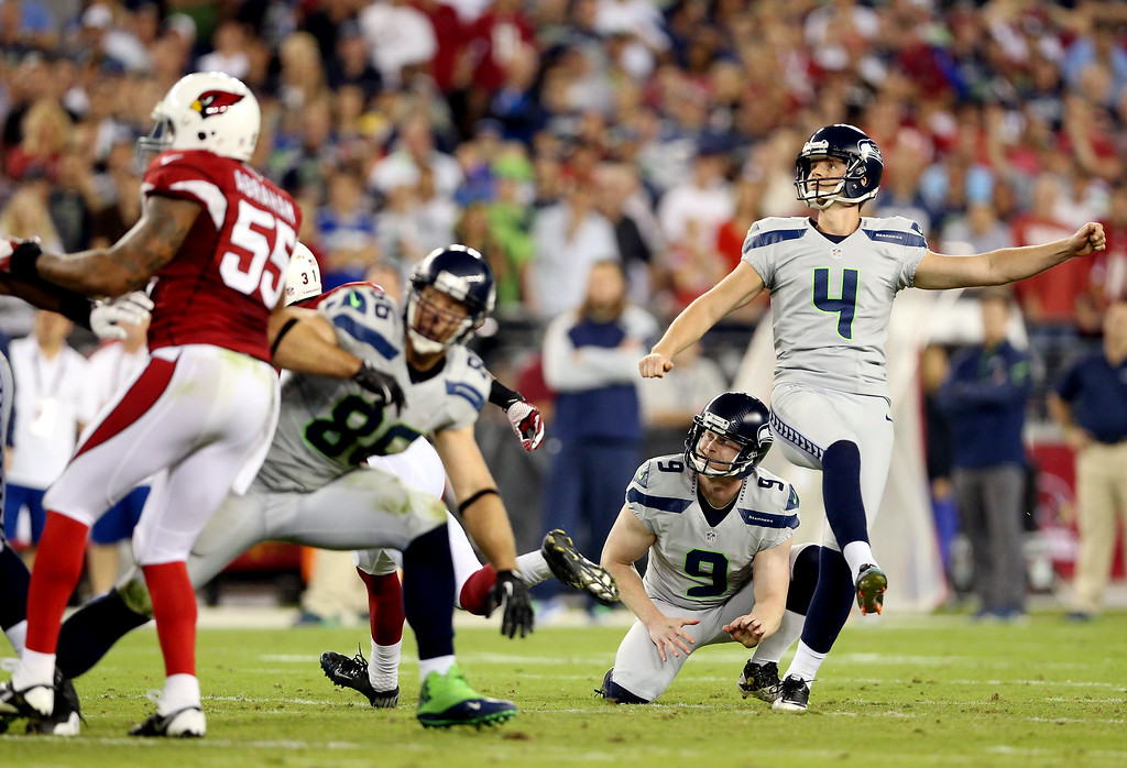 . GLENDALE, AZ - OCTOBER 17:  Kicker Steven Hauschka #4 of the Seattle Seahawks looks on after kicking a field goal against the Arizona Cardinals during a game at the University of Phoenix Stadium on October 17, 2013 in Glendale, Arizona.  (Photo by Christian Petersen/Getty Images)