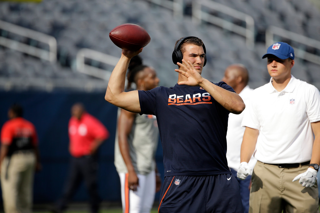 . Chicago Bears quarterback Mitchell Trubisky warms up before an NFL preseason football game against the Denver Broncos, Thursday, Aug. 10, 2017, in Chicago. (AP Photo/Nam Y. Huh)