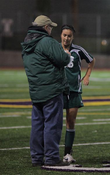 Coach Hester,Christina Gonzalez, Woodinville High Girls Varsity Soccer verse Issaquah High October 6, 2011   ©Neir
