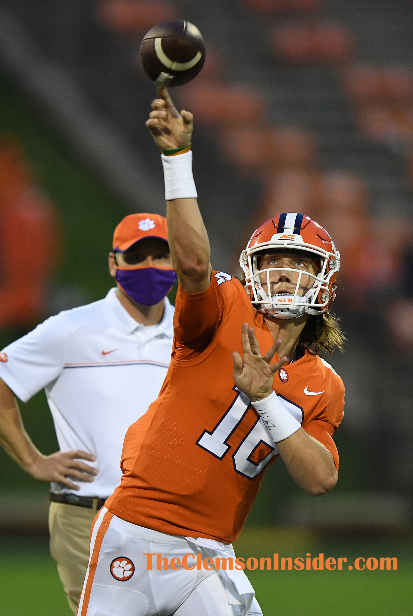Clemson quarterback Trevor Lawrence (16) during pregame of Clemson's game against the University of Miami at Clemson's Memorial Stadium Saturday, October 10, 2020. Bart Boatwright/The Clemson Insider