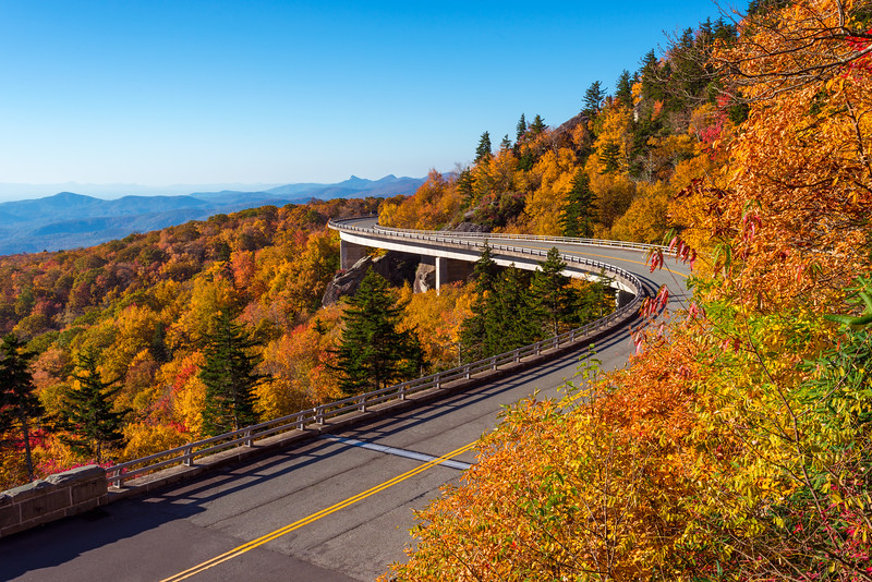 Beautiful Fall Day over Linn Cove Viaduct
