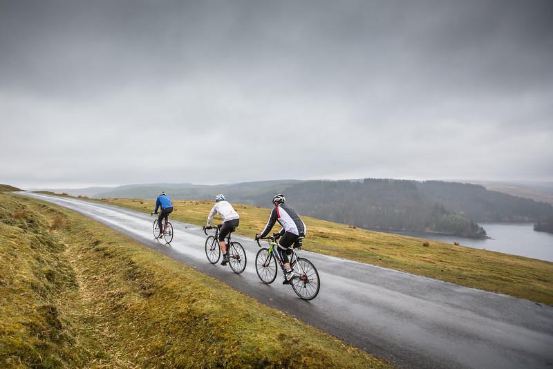 Sportive riders above Llyn Brianne...