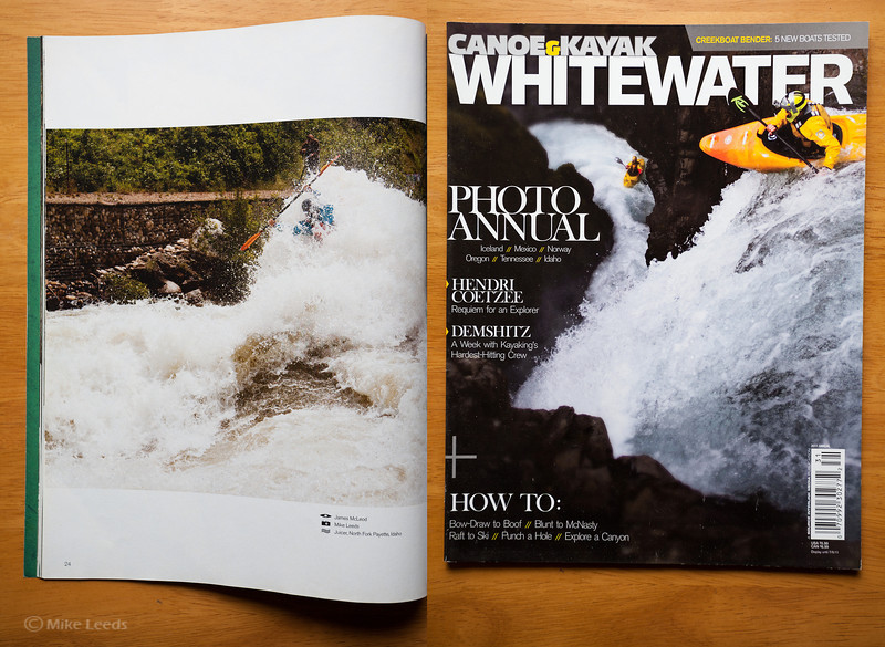 (photo left)James McLeod in Juicer Rapid on the North Fork Payette RIver during flood in Idaho. Canoe and Kayak Magazine Whitewater Annual 2011