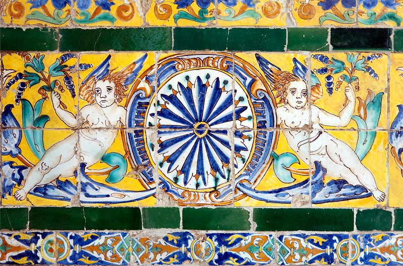 Angels on old glazed ceramic tiles, Fine Arts Museum, Seville, Spain