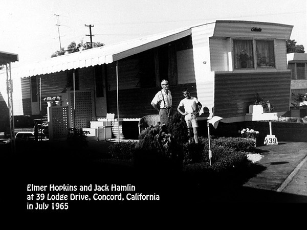 Elmer Hopkins at his trailer home at 39 Lodge Drive, Concord, California in July 1965. Grandson Jack Hamlin is with him.