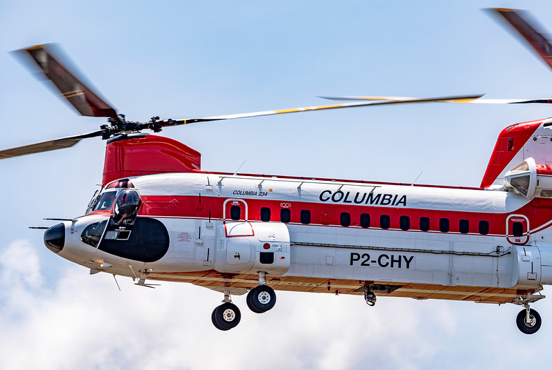 Columbia Helicopters Boeing-Vertol 234LR Chinook P2-CHY 'Columbia 234' landing at Mackay Airport 2019-12-17