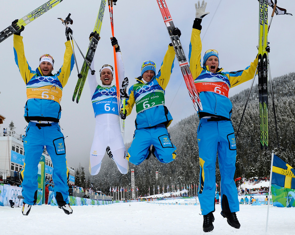 . (L-R) Sweden\'s Anders Soedergren, Marcus Hellner, Johan Olsson and Daniel Richardsson react after victory in the men\'s Cross Country 4x10 km relay at the Whistler Olympic Park during the Vancouver Winter Olympics on February 24, 2010. Sweden claimed the cross country 4x10km relay gold. (FRANCK FIFE/AFP/Getty Images)