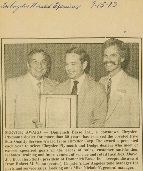 1983, Chrysler Service Award