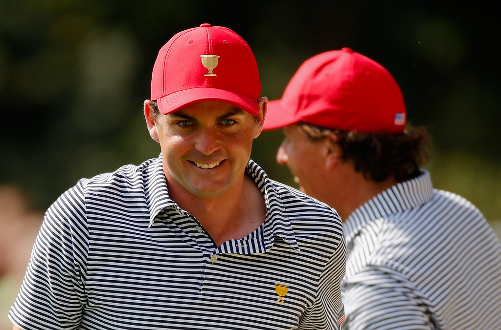 . DUBLIN, OH - OCTOBER 04:  Keegan Bradley (L)  and Phil Mickelson of the U.S. Team save par on the second hole during the Day Two Foursome Matches at the Muirfield Village Golf Club on October 4, 2013  in Dublin, Ohio.  (Photo by Gregory Shamus/Getty Images)