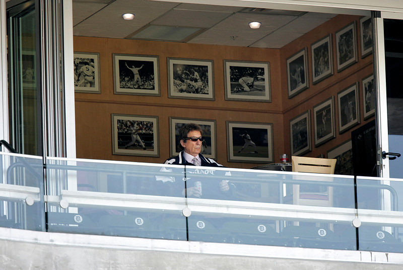 . Detroit Tigers owner Mike Ilitch watches his team in action against the Tampa Bay Devil Rays during their baseball game in Detroit, Thursday, June 15, 2006.   (AP Photo/Paul Sancya)