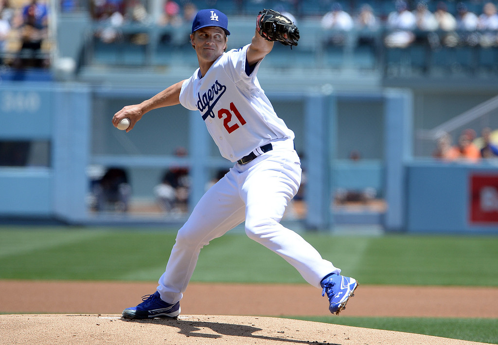 . Los Angeles Dodgers starting pitcher Zack Greinke throws to the plate against the San Francisco Giants in the first inning of a Major league baseball game on Saturday, May 10, 2013 in Los Angeles.   (Keith Birmingham/Pasadena Star-News)
