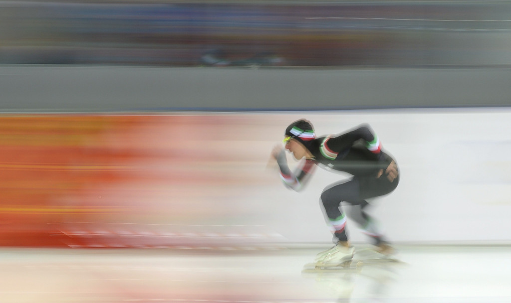 . Italy\'s Mirko Nenzi competes in the Men\'s Speed Skating 1500 m at the Adler Arena during the Sochi Winter Olympics on February 15, 2014.             DAMIEN MEYER/AFP/Getty Images