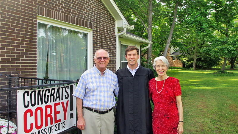 May 2013 - Corey Bradley Graduation Party - Corey with Marian and Reagan
