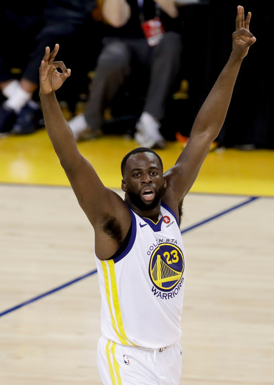 . Golden State Warriors forward Draymond Green celebrates during the second half of Game 1 of basketball\'s NBA Finals between the Warriors and the Cleveland Cavaliers in Oakland, Calif., Thursday, May 31, 2018. (AP Photo/Marcio Jose Sanchez)
