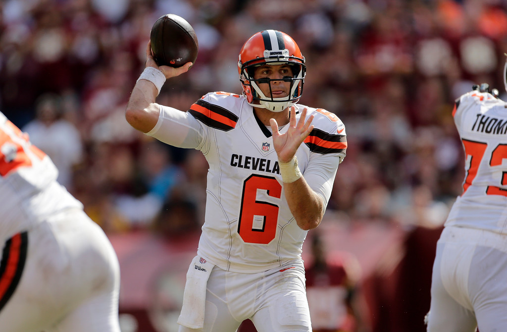 . Cleveland Browns quarterback Cody Kessler (6) throws the ball during the second half of an NFL football game against the Washington Redskins, Sunday, Oct. 2, 2016, in Landover, Md. (AP Photo/Mark Tenally)