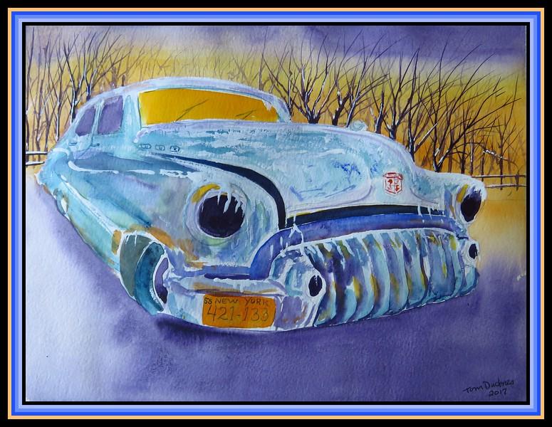 1-1950 Buick Roadmaster, 9x12, watercolor, nov 15, 2017 -