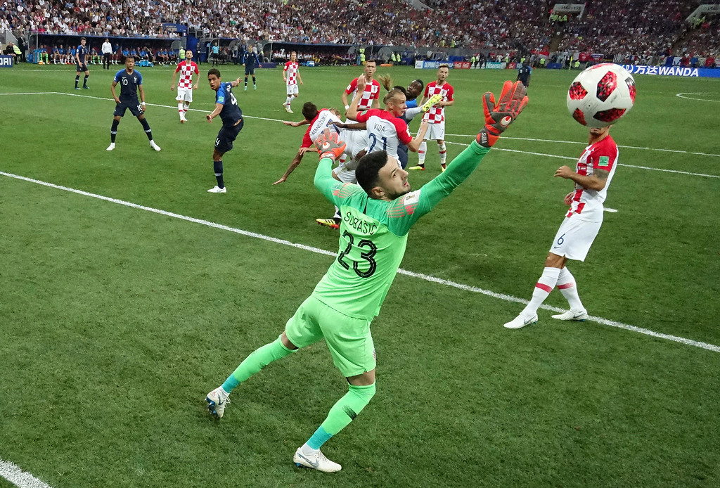 . Croatia\'s Mario Mandzukic scores an own goal past Croatia goalkeeper Danijel Subasic during the final match between France and Croatia at the 2018 soccer World Cup in the Luzhniki Stadium in Moscow, Russia, Sunday, July 15, 2018. (AP Photo/Pavel Kopczynski, Pool via AP)