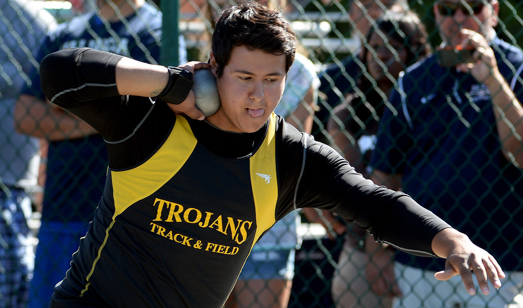. Yucca Valley\'s Trevor Gorwin competes in the shot put during the CIF-SS Masters Track and Field meet at Falcon Field on the campus of Cerritos College in Norwalk, Calif., on Friday, May 30, 2014.   (Keith Birmingham/Pasadena Star-News)