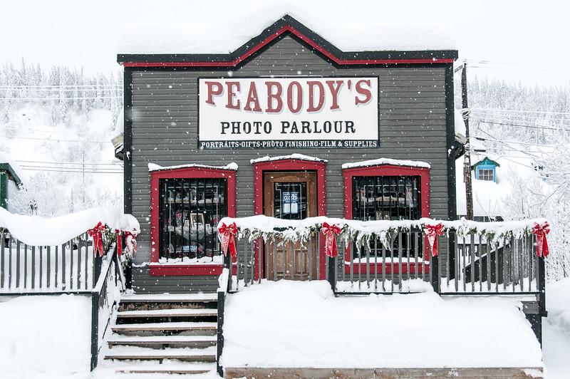 Peabody's Photo Parlour during winter in Dawson City, Yukon