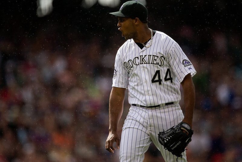 . Starting pitcher Juan Nicasio #44 of the Colorado Rockies reacts after getting a strike out to end the sixth inning against the San Francisco Giants at Coors Field on May 19, 2013 in Denver, Colorado. The Rockies defeated the Giants 5-0. (Photo by Justin Edmonds/Getty Images)