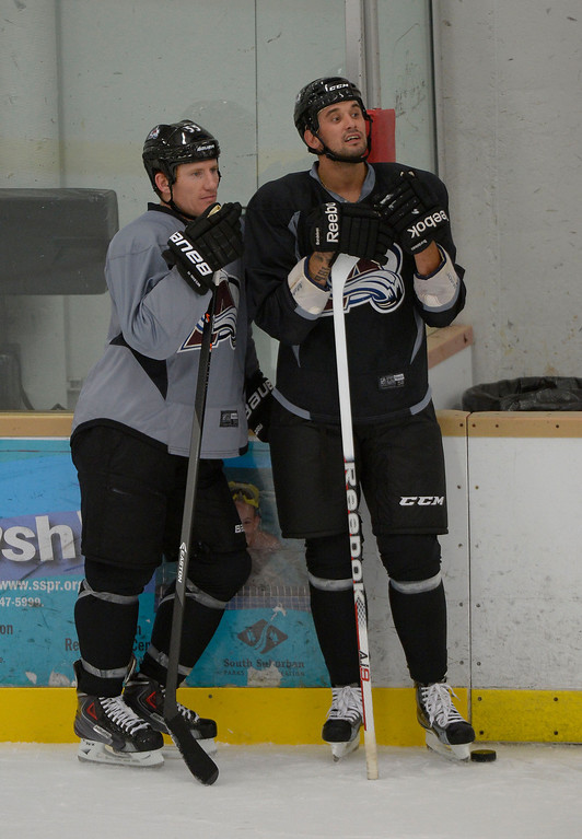 . Colorado Avalanche LW Cody McLeod (55) (L) and Colorado Avalanche LW Patrick Bordeleau (58) look on during practice September 9, 2013 at Family Sports Ice Arena. (Photo By John Leyba/The Denver Post)