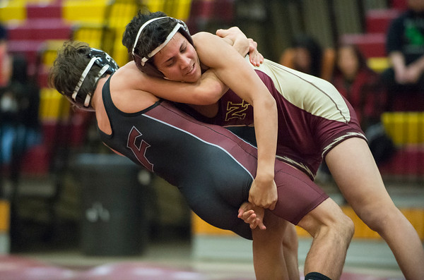 01/29/20 Wesley Bunnell | StaffrrNew Britain wrestling defeated Farmington on Senior Night on Wednesday January 29, 2020. Brandon Rodriguez wrestles at 126lbs.