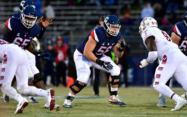 11/24/2018 Mike Orazzi | Staff UConn Footbal's Nino Leone (56) during Saturday's Uconn football game at Rentschler Field in East Hartford.