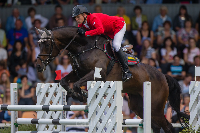 Matas PETRAITIS (LTU) with the horse SOLI DEO GLORIJA, World Cup competition, Grand Prix Riga, CSI2*-W, CSIYH1* - Riga 2016, Latvia