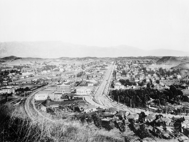 View of Highland Park, looking northeast on Pasadena Avenue (formerly North Figueroa Street), ca.1908-1912