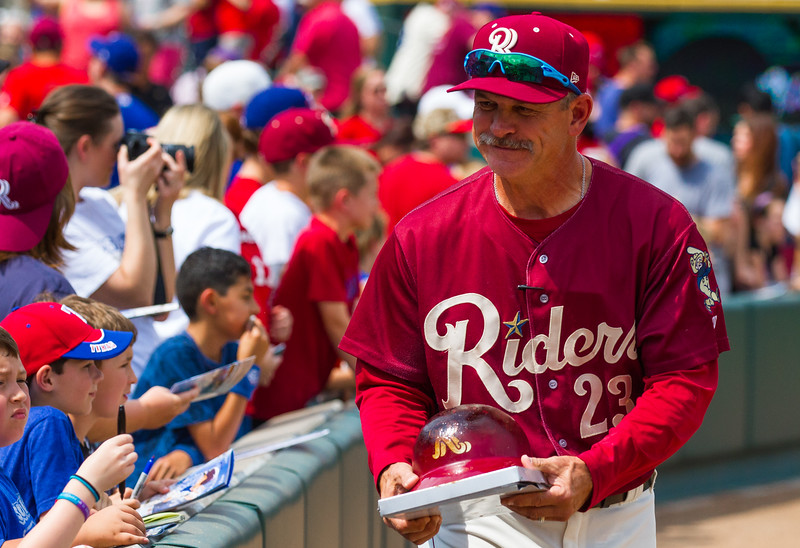 Frisco RoughRiders' manager Joe Mikulik walks to the dugout before a game against the San Antonio Missions at Dr. Pepper Ballpark in Frisco, Texas, Sunday, May 22, 2016. (Photo by Sam Hodde)