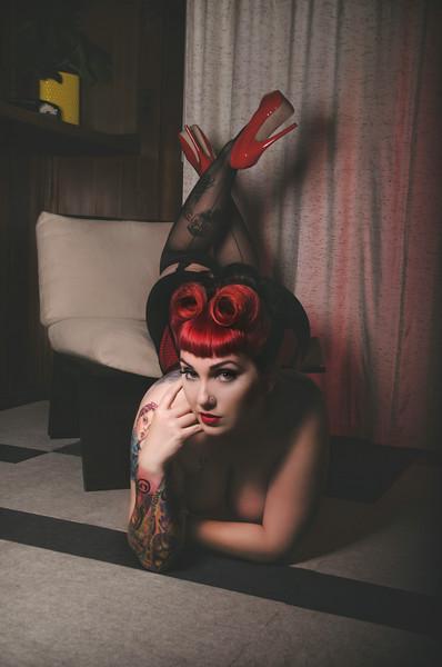 Model: Veronica Virgo   Hair: Jessica Ambrose - Santa Rosa, California   Makeup: Melissa Gutierrez - San Francisco, CA   Hair Flower: Hellcat Hardwear - Austin, TX   Corset: Luscious Peach - Dallas, Texas