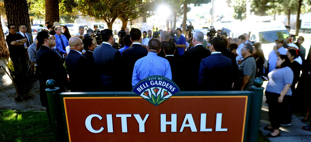 . Regional elected officials speaks during a press conference calling for Senator Ron Calderon to resign his position in the California State Senate in front of the Bell Gardens City Hall in Bell Gardens , Calif., on Wednesday, Nov. 13, 2013.   (Keith Birmingham Pasadena Star-News)