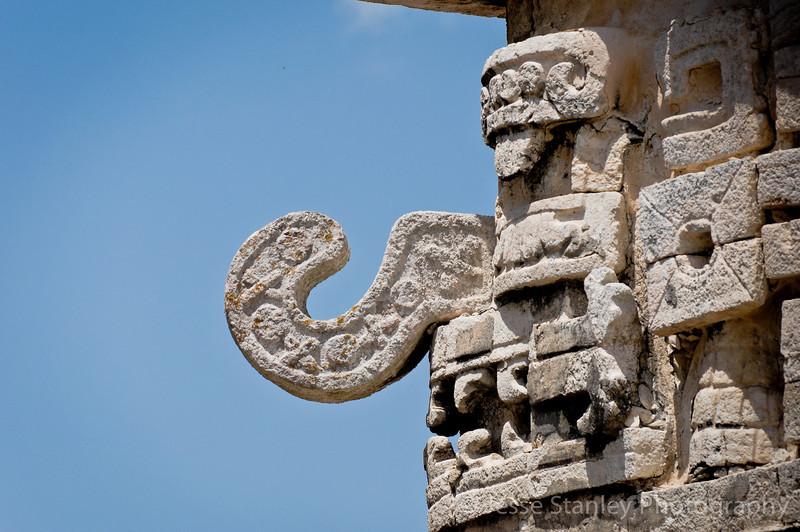 The face of Chaac, the Mayan rain god on La Iglesia, Chichen Itza