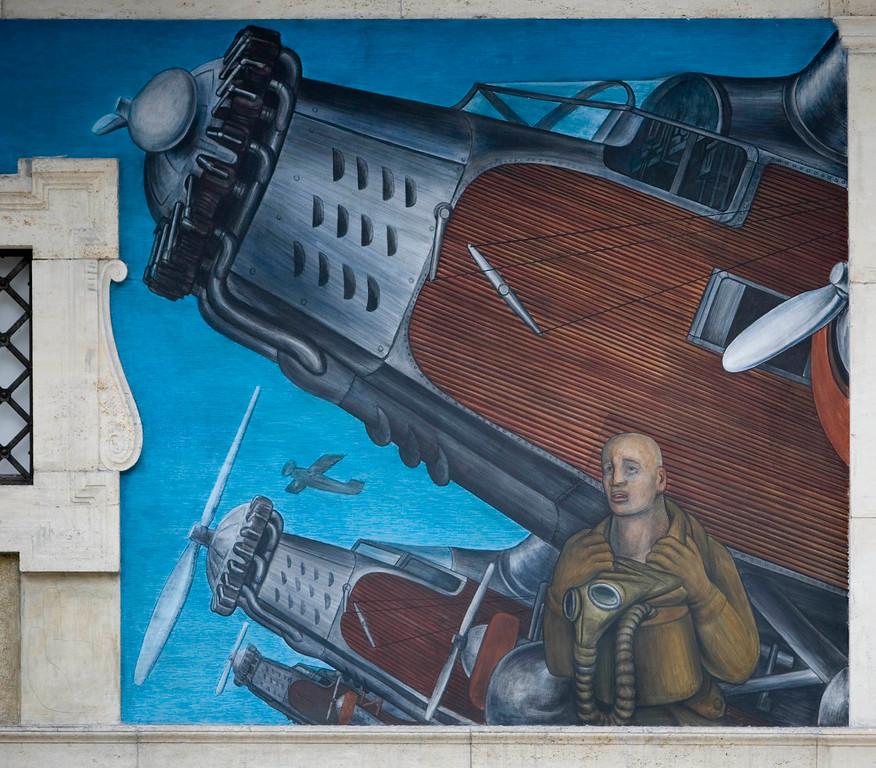 . Detroit Industry, west wall (detail), Diego Rivera, 1932-33, fresco. Detroit Institute of Arts (aviation � fighter planes)