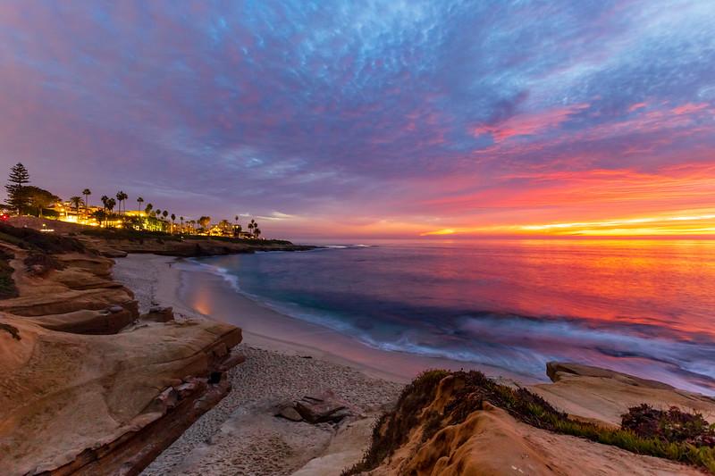 Tonight's fiery colorful sunset at La Jolla Cove