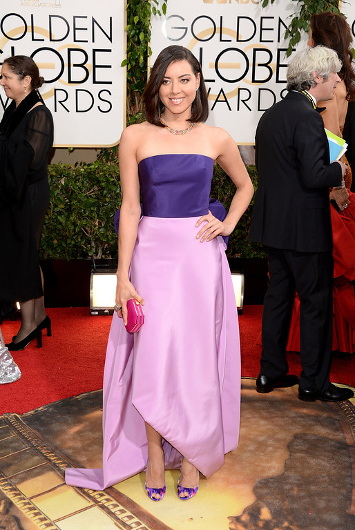 . Actress Aubrey Plaza attends the 71st Annual Golden Globe Awards held at The Beverly Hilton Hotel on January 12, 2014 in Beverly Hills, California.  (Photo by Jason Merritt/Getty Images)