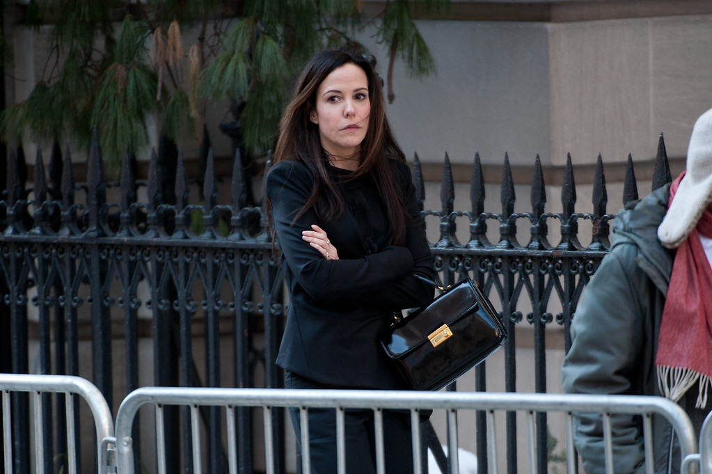 . Mary-Louise Parker attends the funeral service for actor Philip Seymour Hoffman at St. Ignatius Of Loyola on February 7, 2014 in New York City. Hoffman died of an alleged drug overdose on February 1, 2014.  (Photo by D Dipasupil/Getty Images)