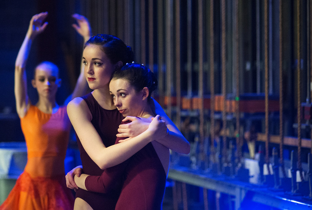 . Hundreds of ballet dancers came to The Theater at Colorado Heights University in Denver to compete in the  Youth America Grand Prix Regional semi-finals   on Friday, February 19, 2016.  The weekend competition was for dancers to earn scholarships and invitations to prestigious dance companies.  Backstage, before they danced in the junior contemporary category, Colorado Springs dancers Abby Williamson, 14, center, hugs Tiller Stanton,13, right   (Photo by Cyrus McCrimmon/ The Denver Post)