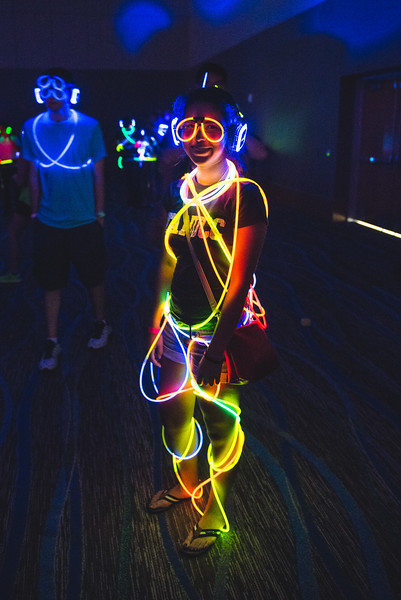 TAMU-CC student during the Glow Party for freshmen at the UC Anchor Ballroom.