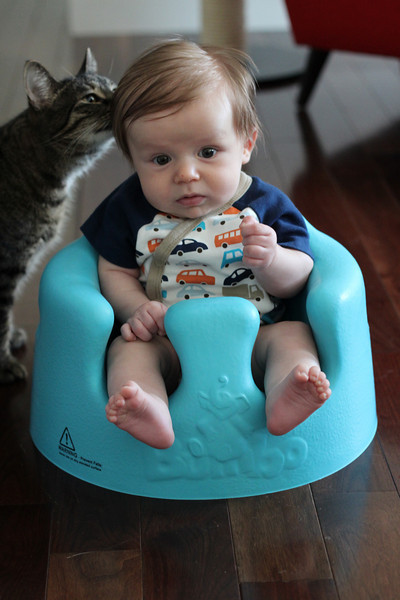 Testing out the Bumbo seat with Hazel looking on.