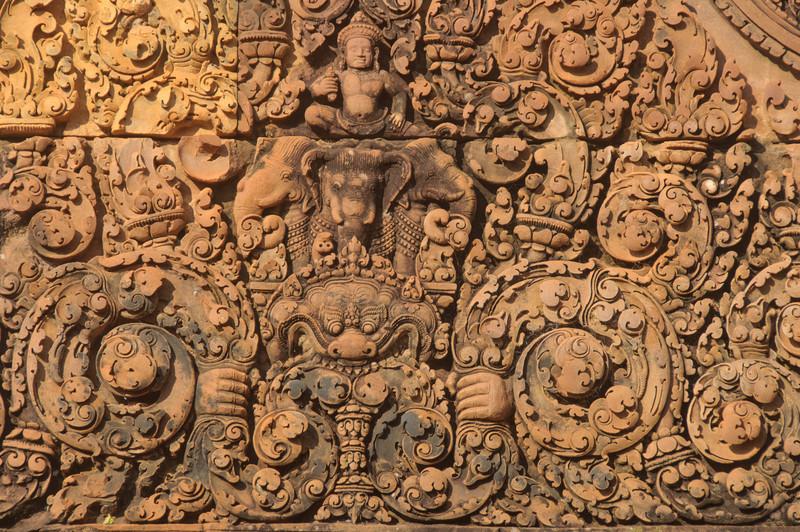 The god Indra rides on his mount, Airavata, a three-headed elephant.