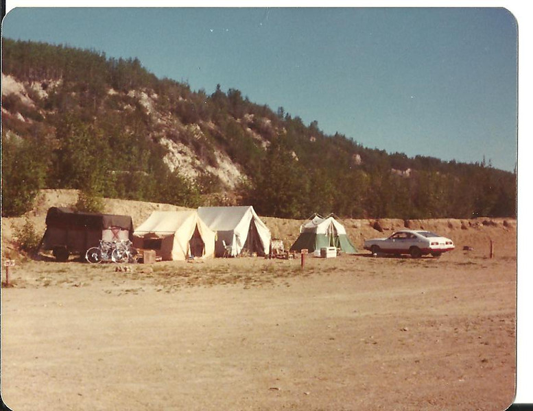 """Our campsite at Gold Hill in Fairbanks for the summer of '78. We shared the """"cook tent"""" in the center with another couple."""