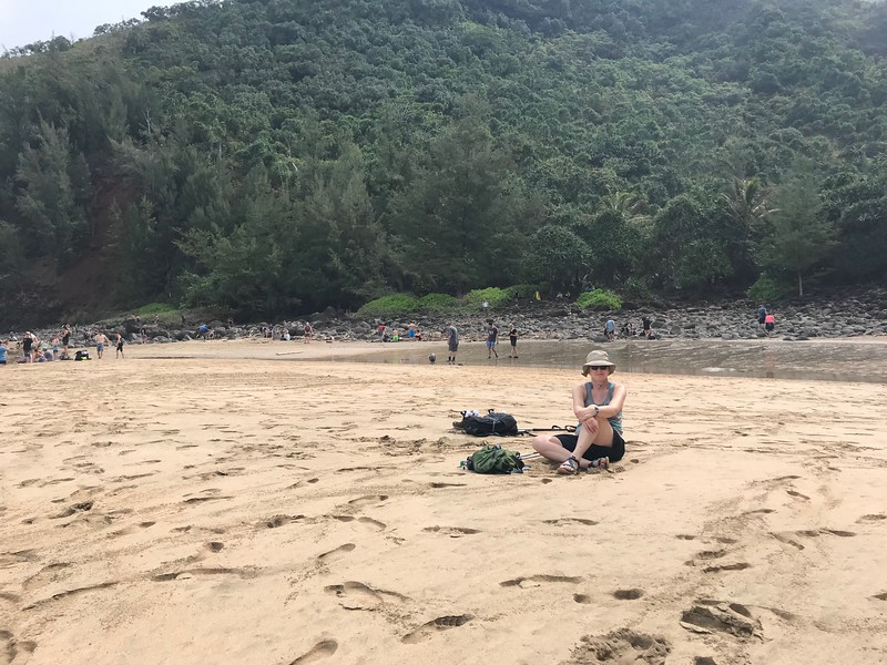 Mitzi on Hanakapi'ai Beach