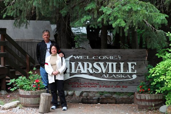 When we got off the train. we went by bus to Liarsville. Once there we had a salmon bake, went into a typical old mining town, watched a show, and panned for gold.